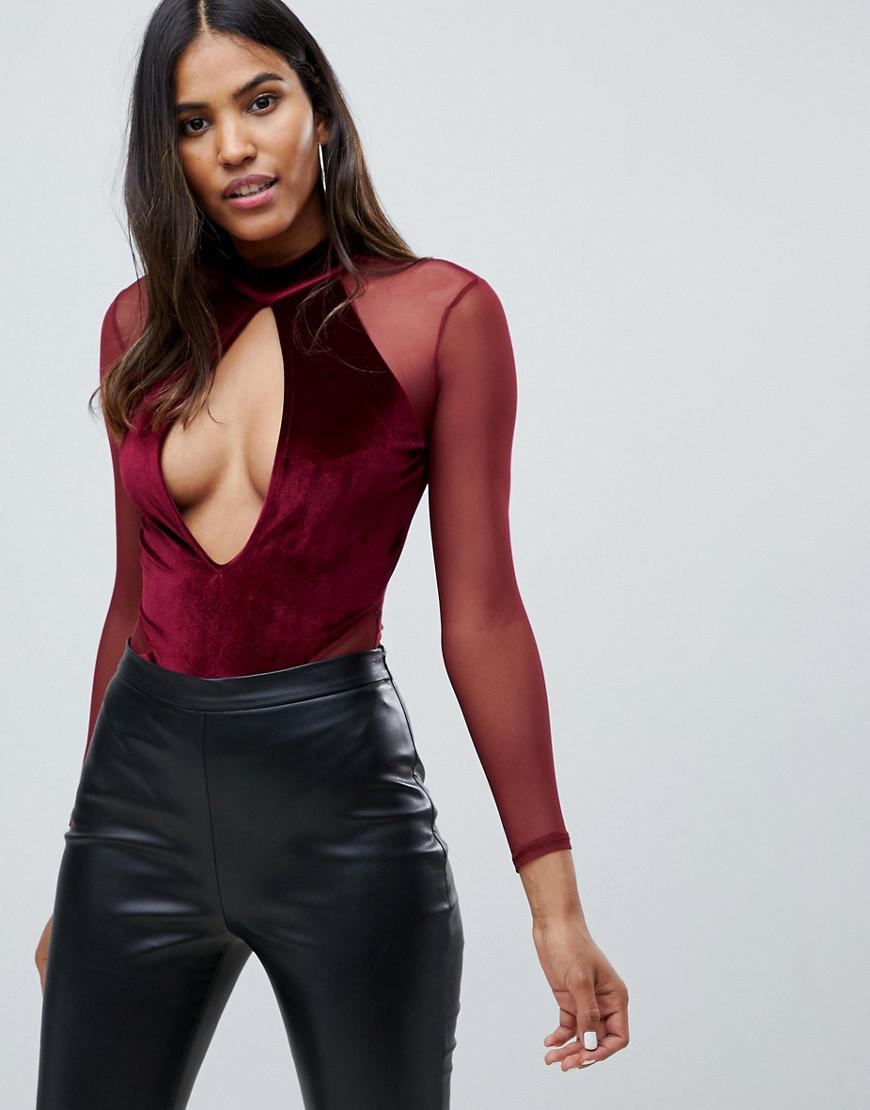 de20d1dddd Missguided Plunge Cut Out Velvet And Mesh Body In Burgundy in Red - Lyst