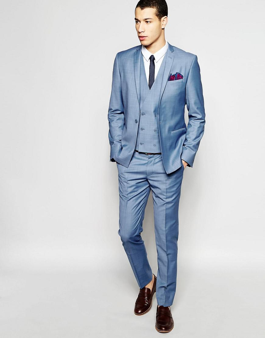 Lyst - Asos Skinny Double Breasted Waistcoat In Blue in Blue for Men