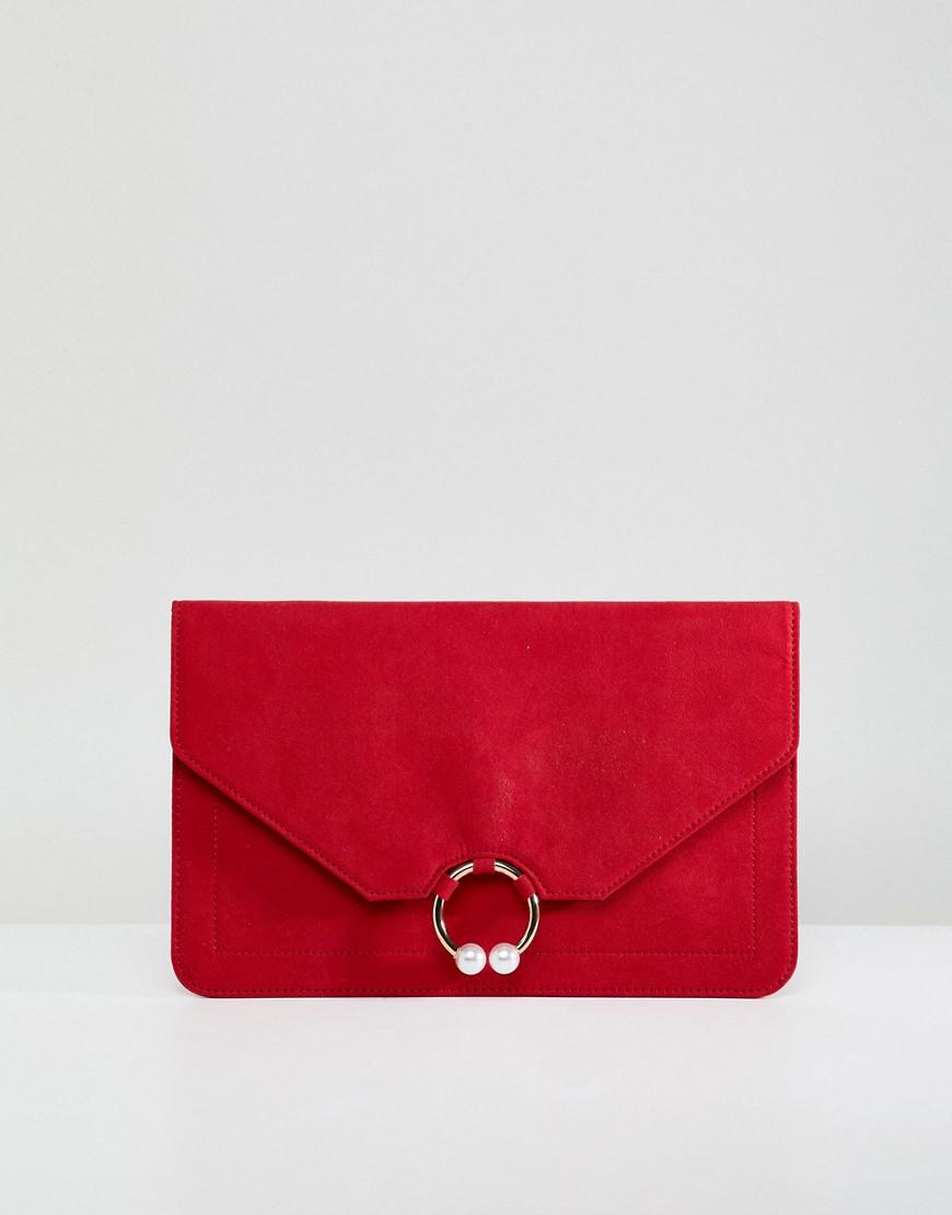 09cdcfe71c Lyst - ASOS Clutch Bag With Ring Pearl Detail in Red