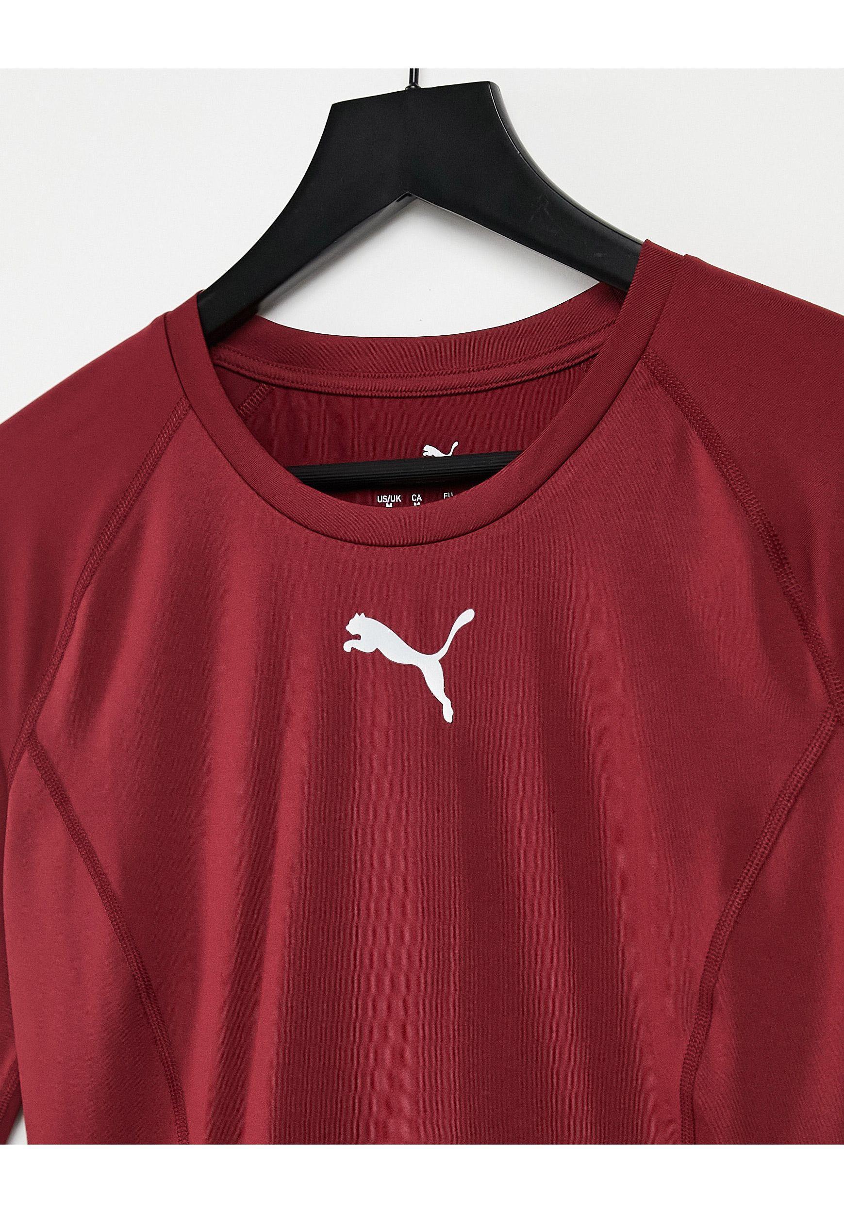 PUMA Liga Long-sleeved Baselayer T-shirt in Red for Men - Lyst