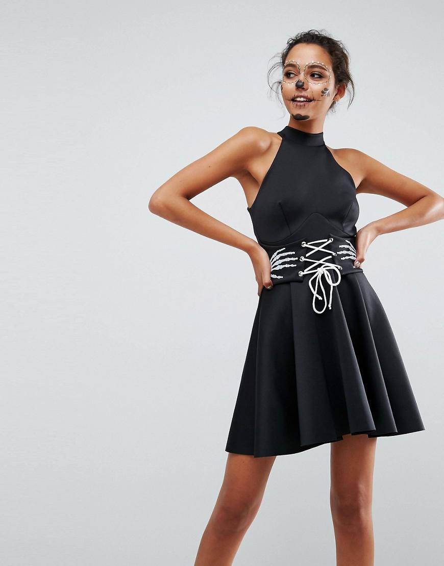 3efd33b84e ASOS. Women s Black Asos Halloween Skeleton Hands Corset Waist Scuba Mini  Dress