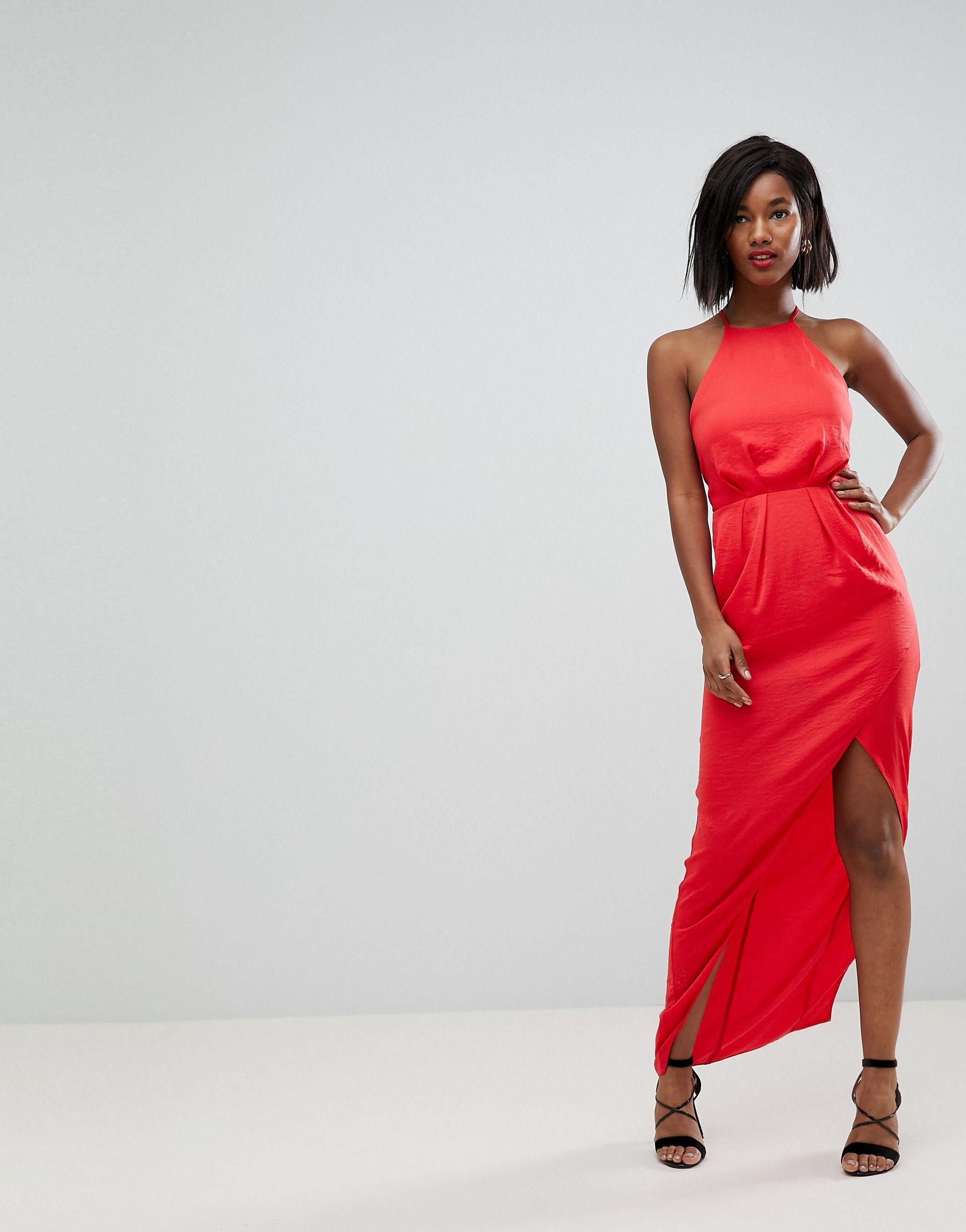 ASOS - Robe longue en satin martelé à dos lacé ASOS en coloris Rouge