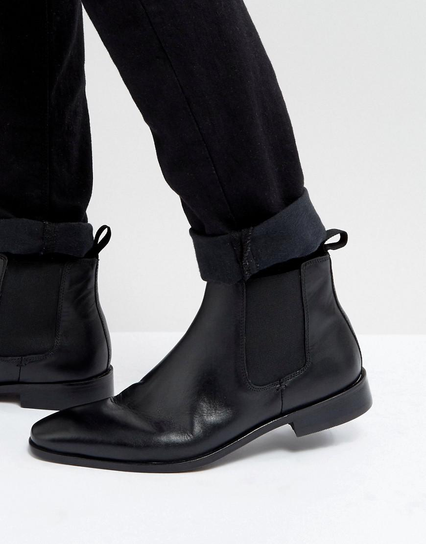 7c869b153bd3b Dune Chelsea Boots In Black Leather in Black for Men - Lyst