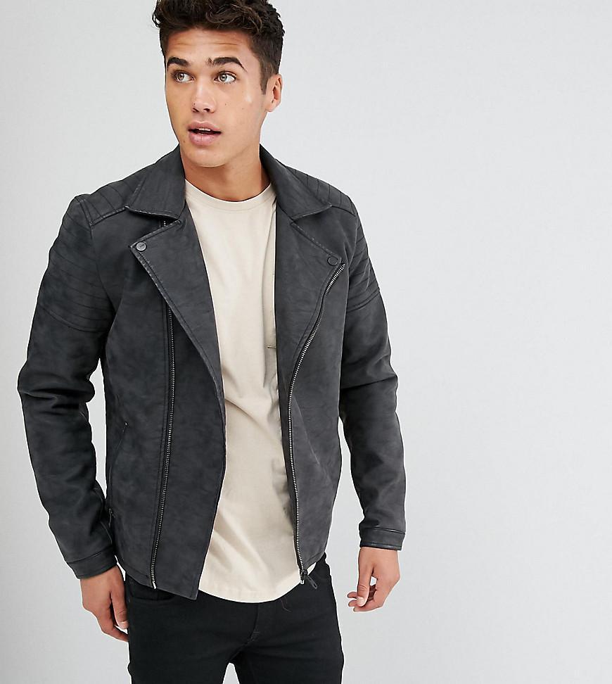 48a1ffbcd44 Only & Sons Faux Leather Biker Jacket in Black for Men - Lyst