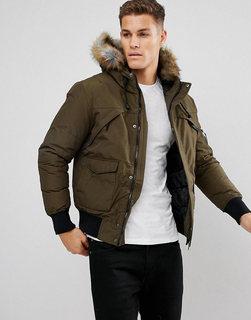 Bershka Short Bomber Jacket With Fur Hood In Khaki In