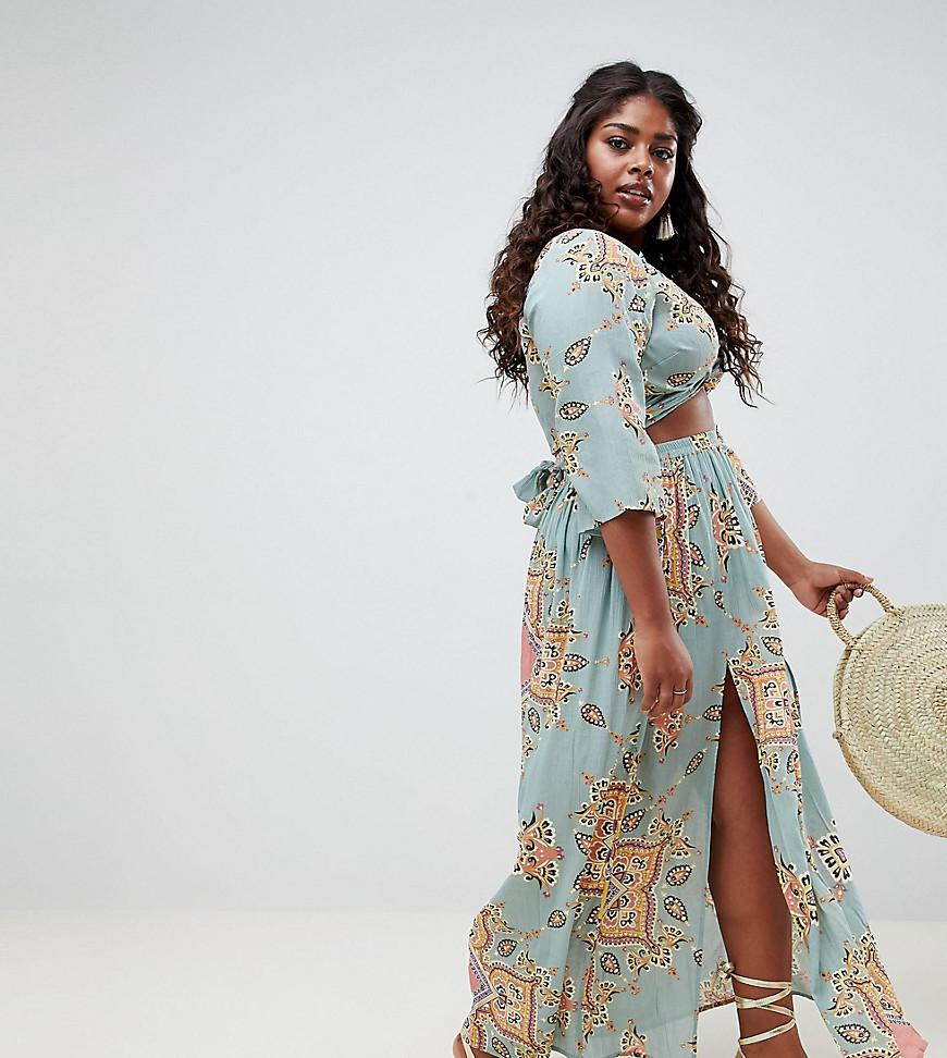 56ef18d4e6 ASOS Asos Design Curve Mint Paisley Print Co-ord Maxi Skirt With ...