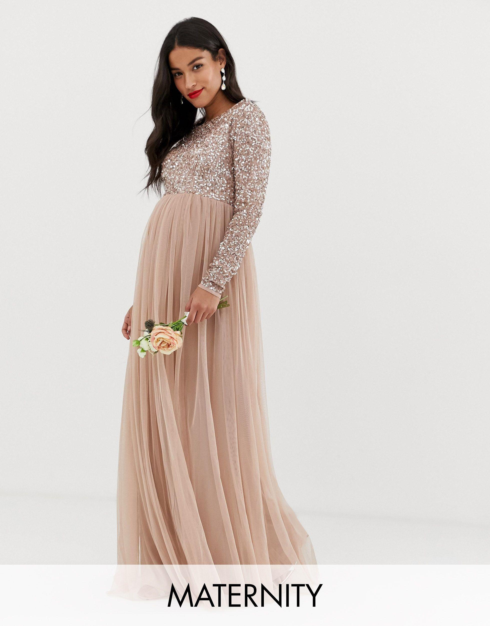 Maya Maternity Bridesmaid Long Sleeved Maxi Dress With Delicate Sequin And Tulle Skirt In Brown Lyst