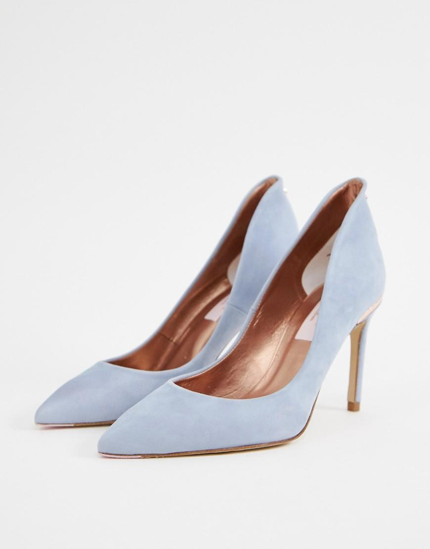 59ebfa28c Ted Baker Suede Heeled Shoes in Blue - Lyst