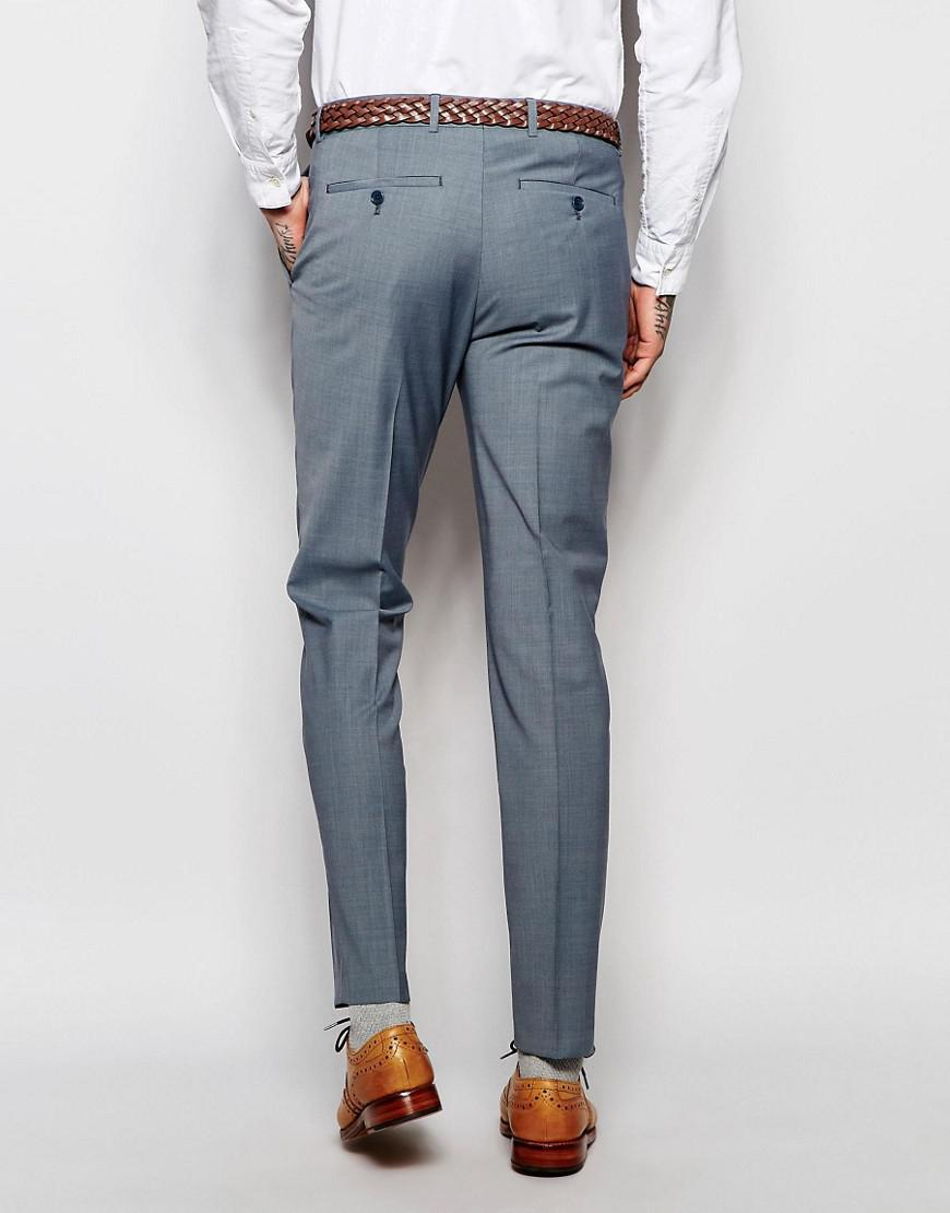 ASOS Synthetic Asos Wedding Skinny Suit Trousers In Tonic in Blue for Men
