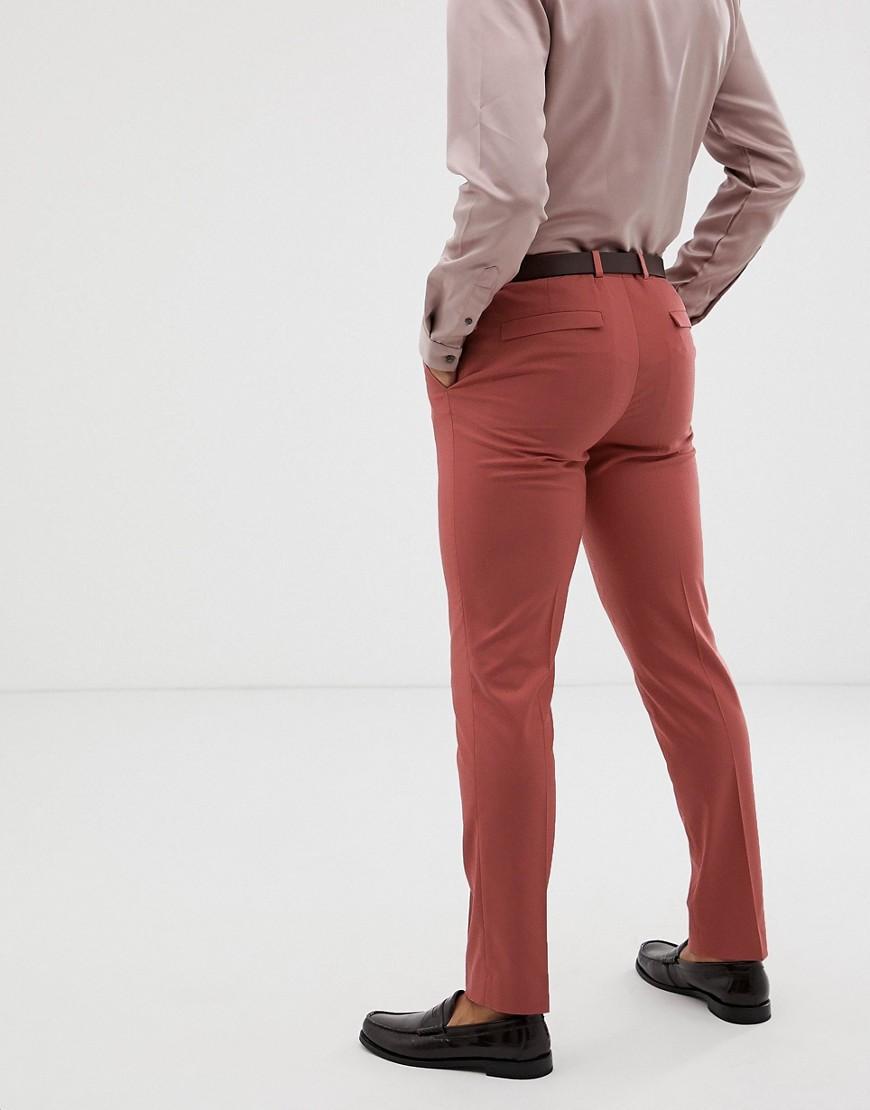ASOS Synthetisch Skinny Pantalon In Roze in het Roze voor heren