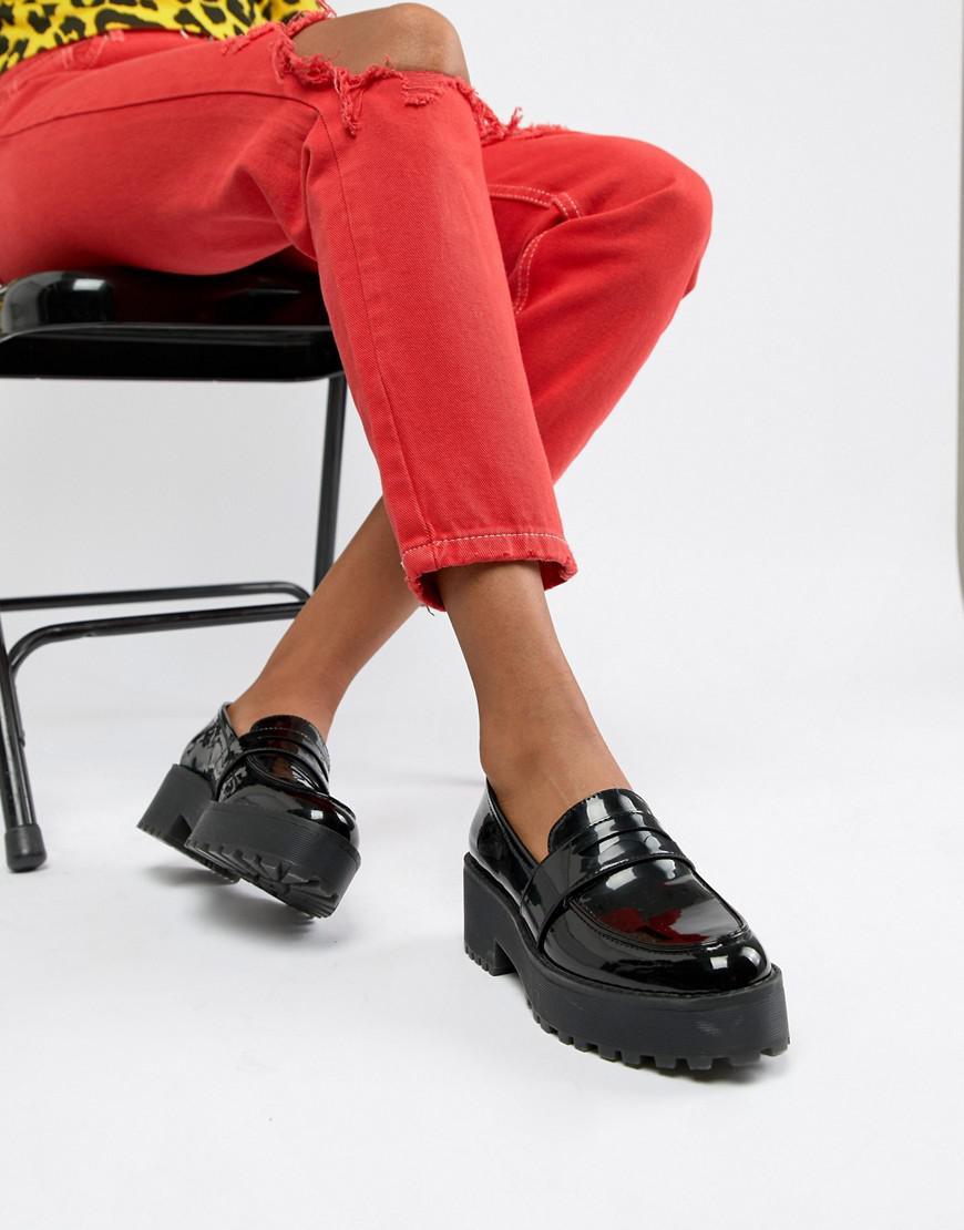 Monki Denim Chunky Loafer In Black - Lyst