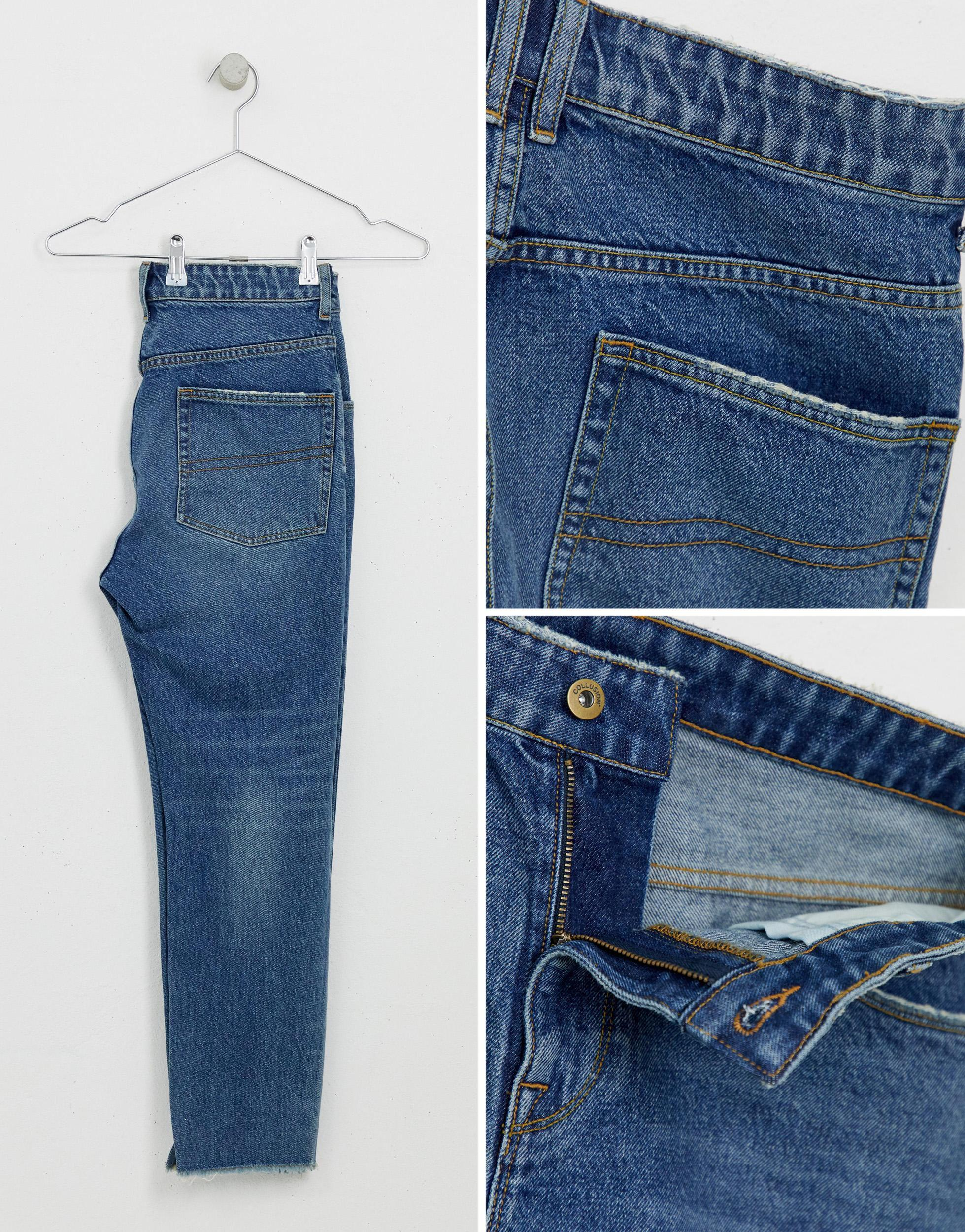Collusion Denim X003 - Jeans Met Smaltoelopende Pijpen En Scheuren Bij in het Blauw voor heren