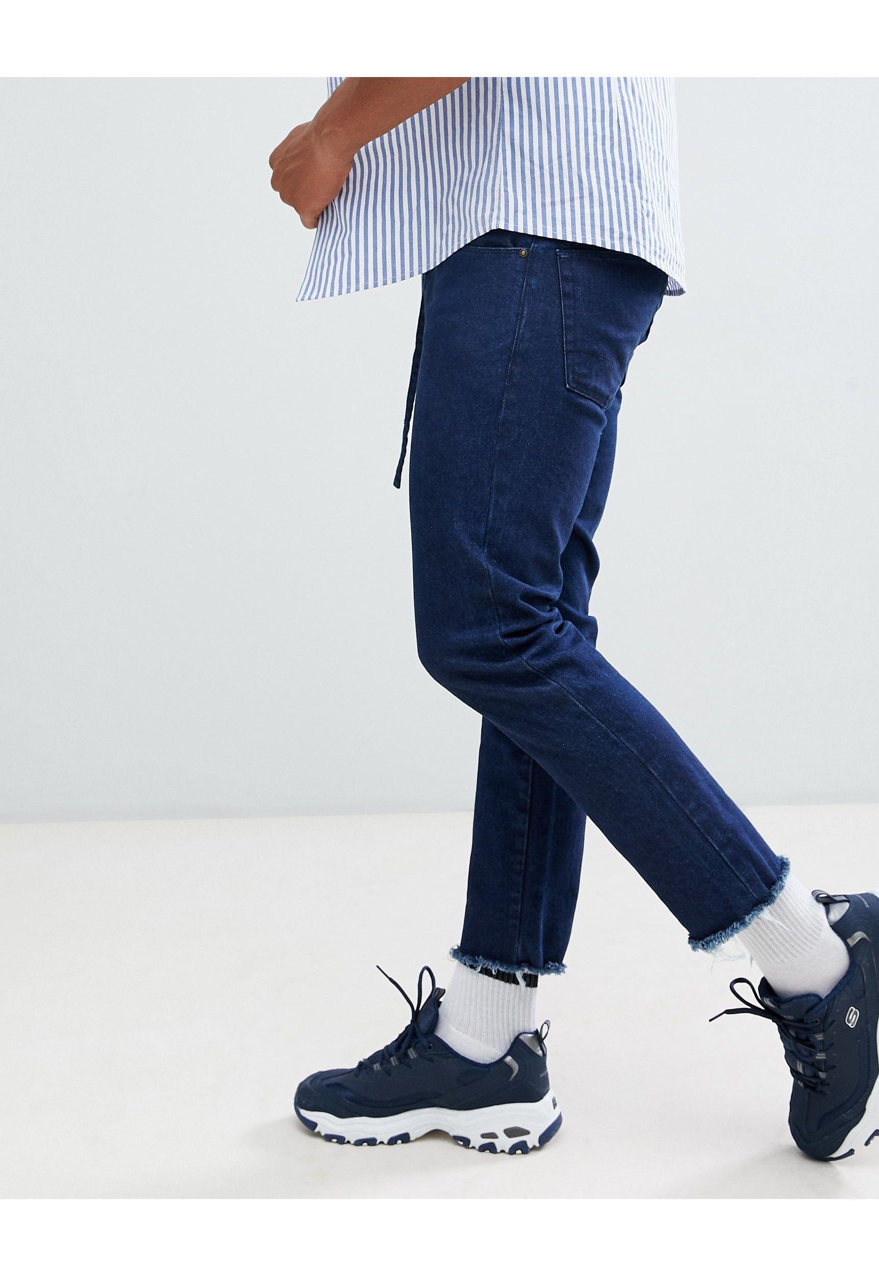ASOS Denim Smalle Jeans Met Riem Met D-ring in het Blauw voor heren
