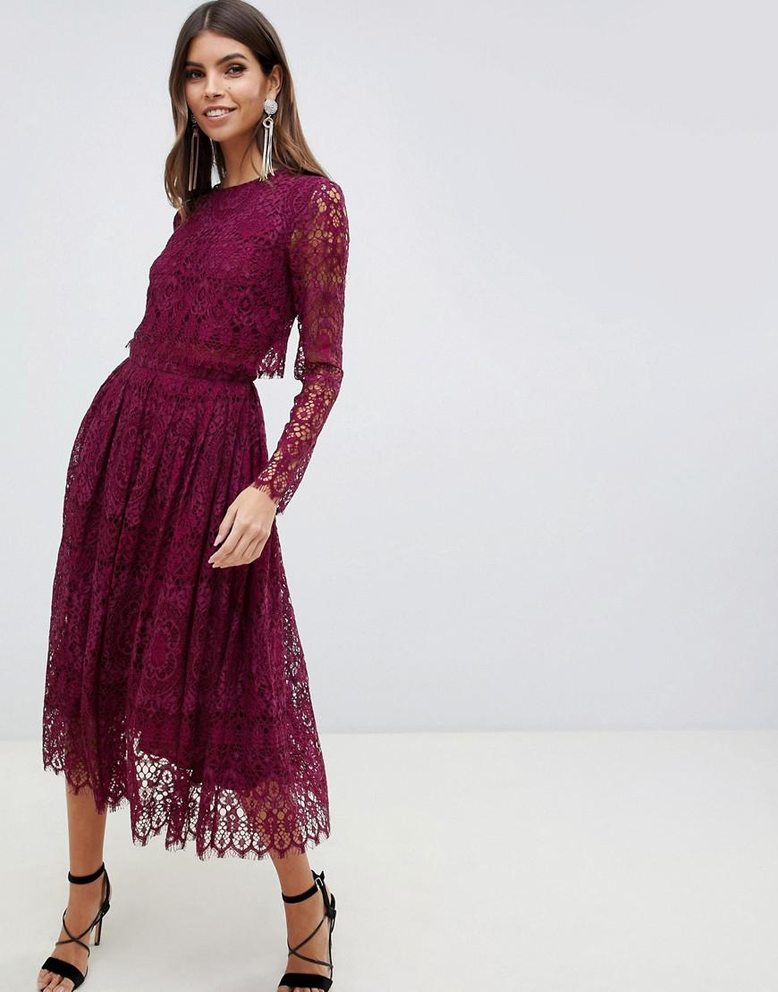 8e77ff2896597 Lyst - ASOS Lace Long Sleeve Midi Prom Dress in Red
