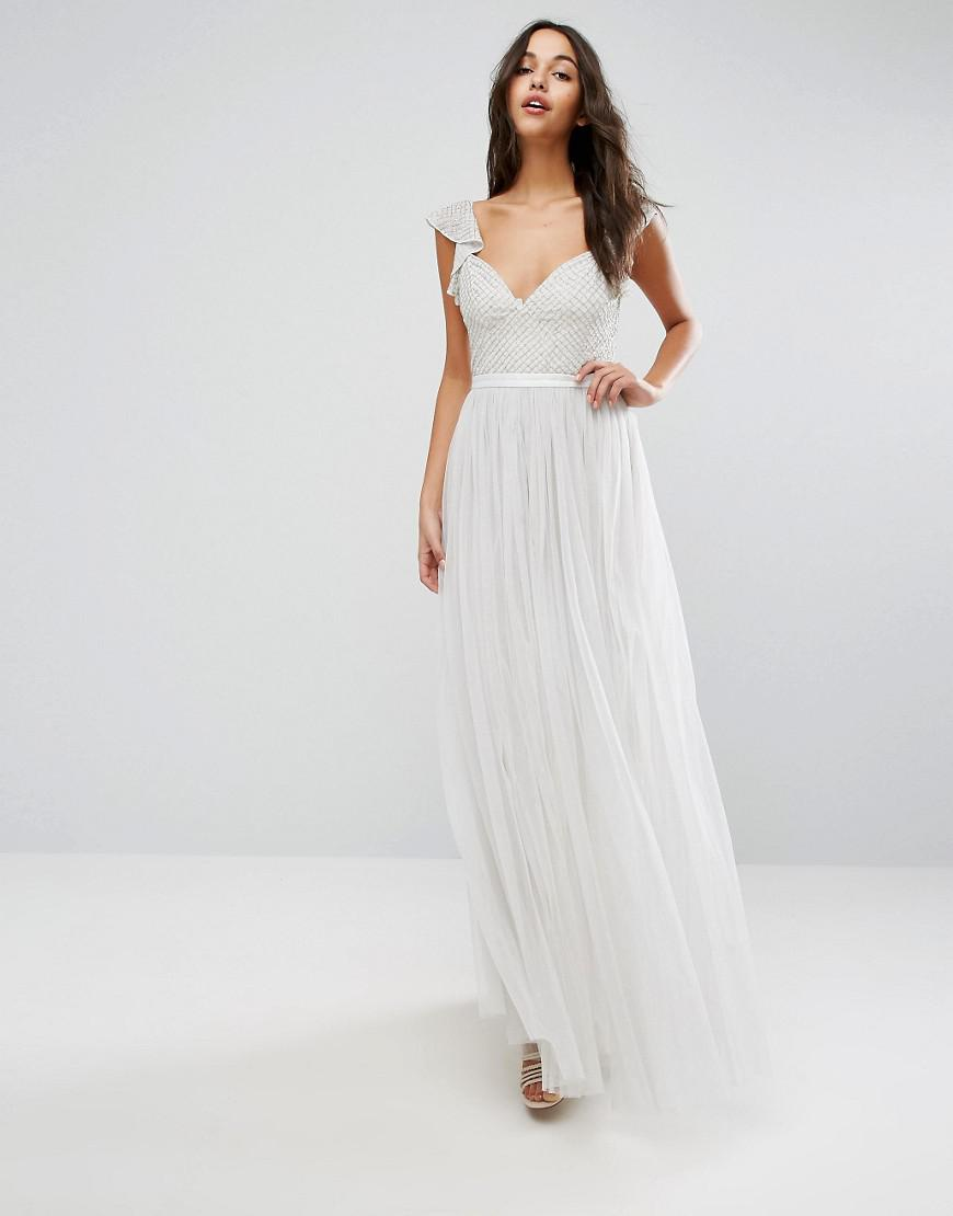 1df44523850 Needle   Thread Swan Tulle Maxi Dress With Frill Sleeve in Green - Lyst