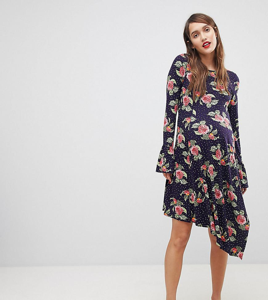 6cd3d699c55915 ASOS. Women's Blue Mini Dress With Hanky Hem And Frill Cuff In Spot Floral  Print