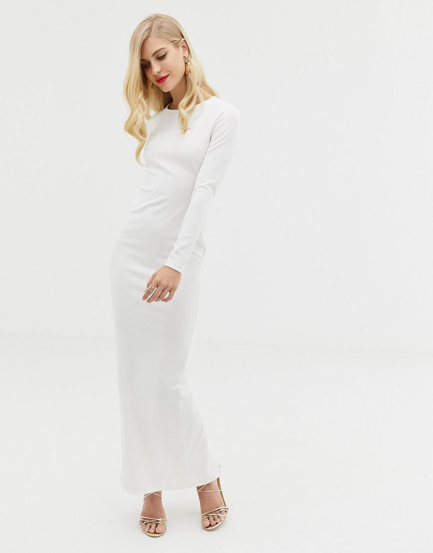 dacc81843c3 ASOS Long Sleeve Strappy Back Maxi Dress in White - Lyst