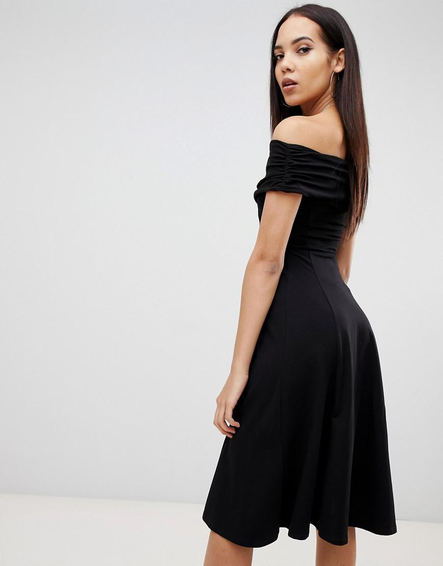 6c0e7c11b4 ASOS Asos Design Tall Bardot Midi Skater Dress in Black - Lyst