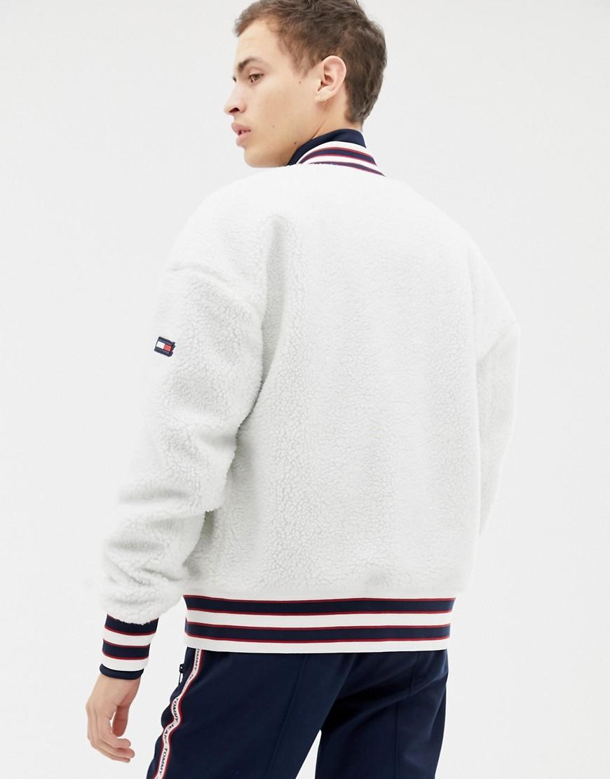 a0dc5b9fcb8c9c Lyst - Tommy Hilfiger Teddy Bomber Jacket With Icon Stripe Trim In White in  White for Men