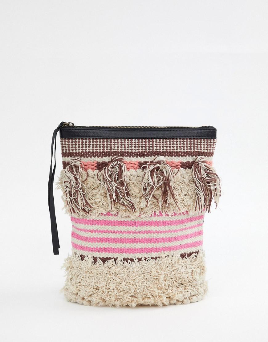 0b61e5628e92 Lyst - Cleobella Gabby Textured Tassel Backpack