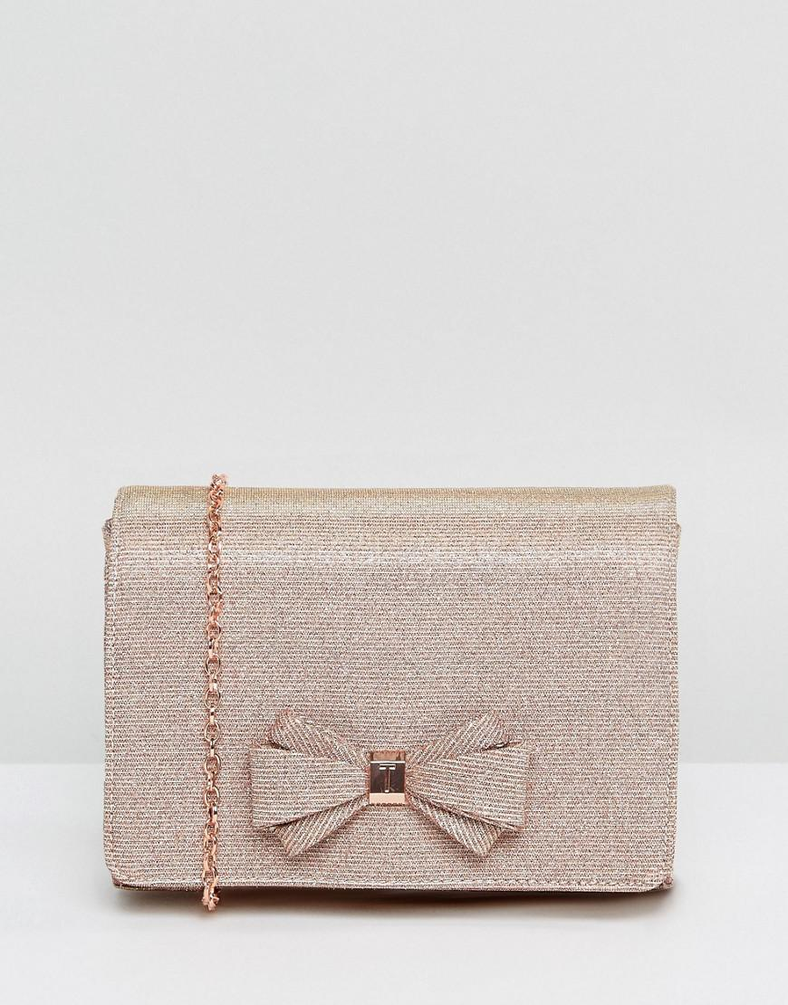 7035ac6ae49ed Ted Baker Kimmeyy Glitter Bow Evening Bag in Metallic - Lyst