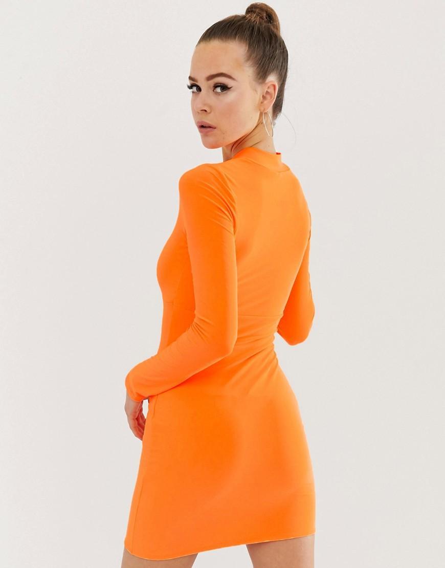 4e0c7194a0b Fashionkilla Zip Front Bodycon Dress In Neon Orange