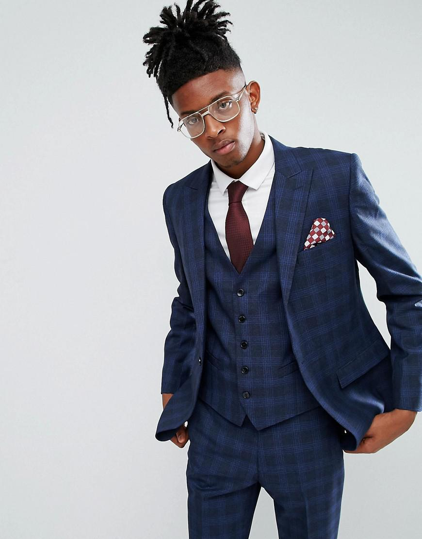 fd7bd561c7a Rudie - Blue Prince Of Wales Check Skinny Fit Suit Jacket for Men - Lyst.  View fullscreen