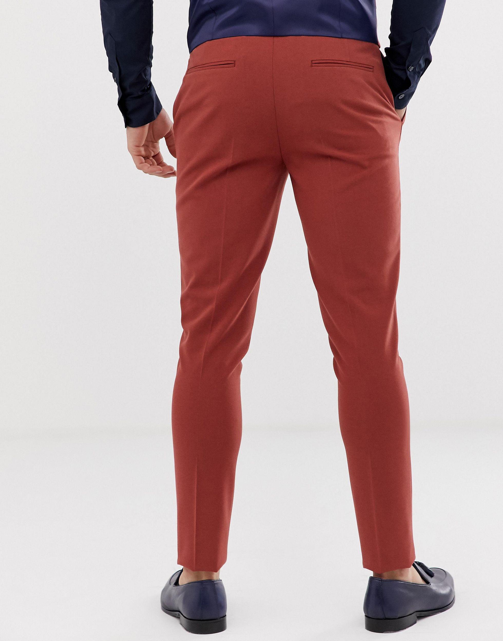 ASOS Synthetisch Superskinny Pantalon in het Rood voor heren