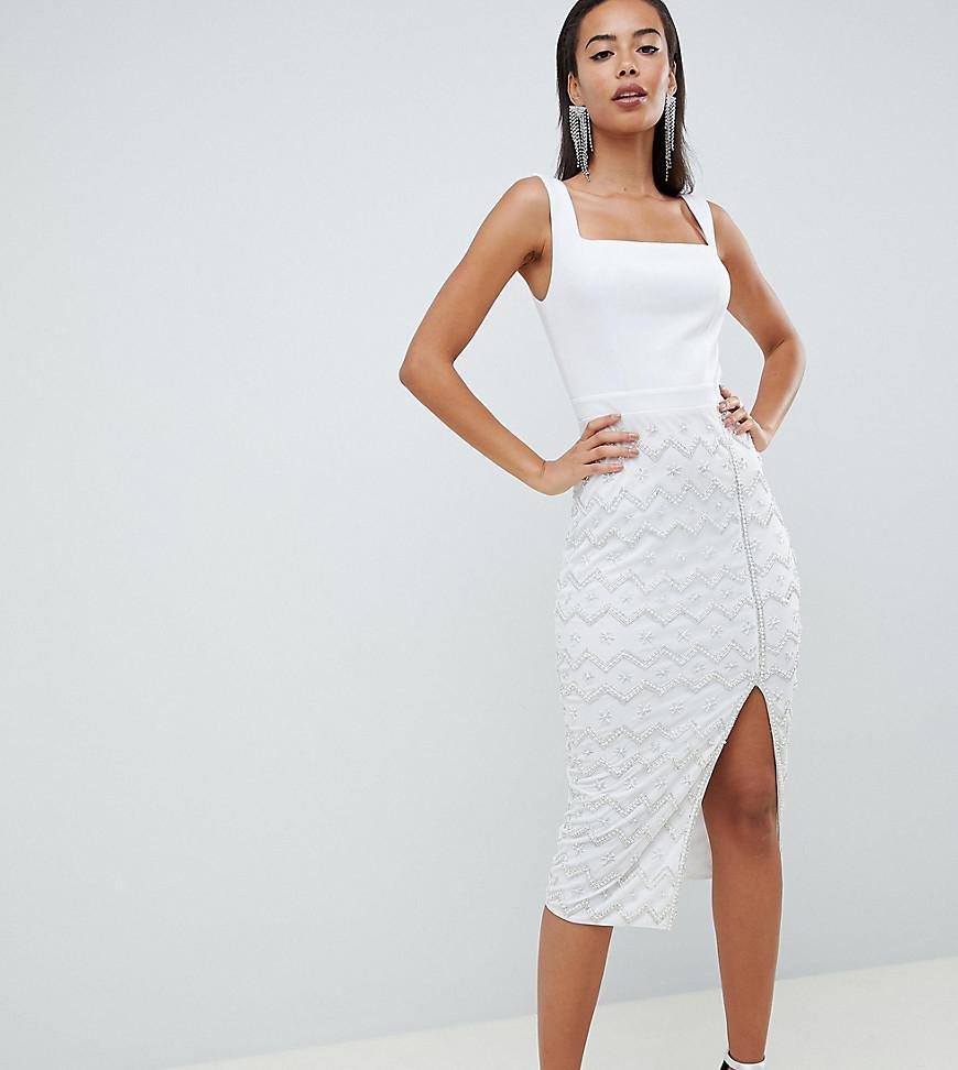 0b99406234 ASOS. Women s White Asos Design Tall Square Neck Embellished Sequin Midi  Dress