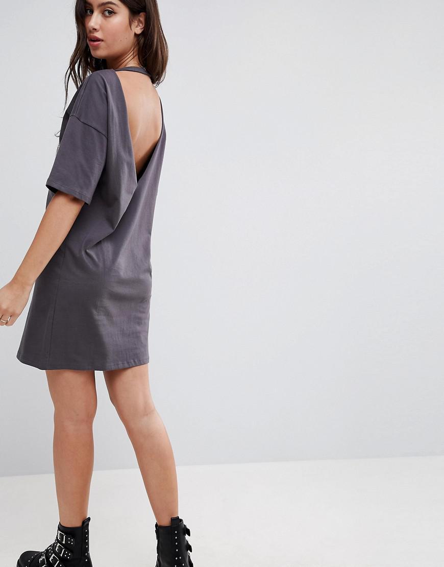 d31fa65d1a Lyst - ASOS Asos Mini T-shirt Dress With Girls Vinyl Print And V ...