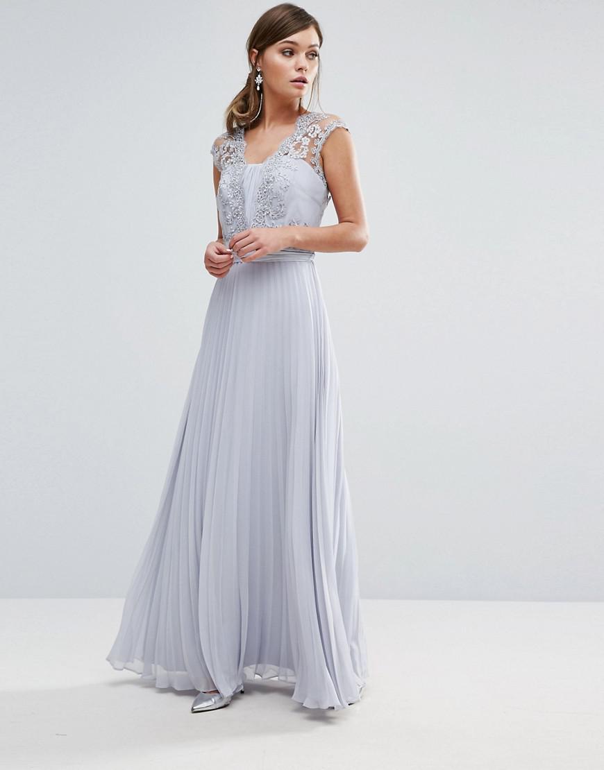 bb91c625b8f Coast Lori Arlie Pleated Maxi Dress In Light Grey in Gray - Lyst
