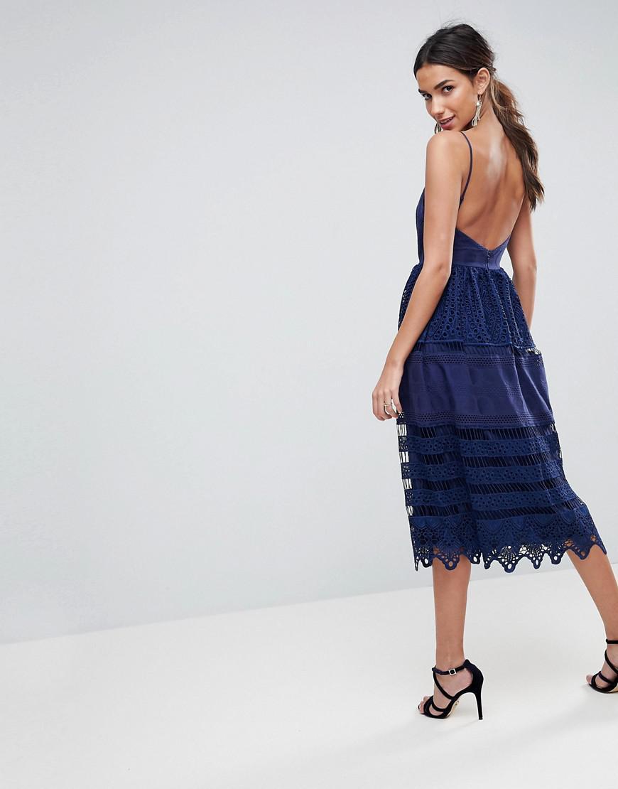 ebbe77464dc0 ASOS Asos Premium Broderie Lace Midi Dress in Blue - Lyst
