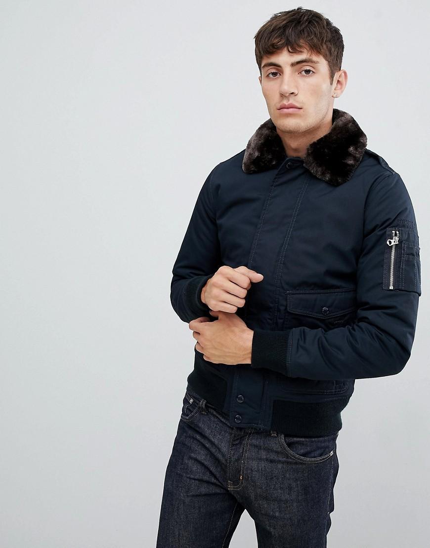 Schott Nyc Synthetisch Air - Slim-fit Bomberjack Met Afneembare Kraag Van Imitatiebont in het Blauw voor heren