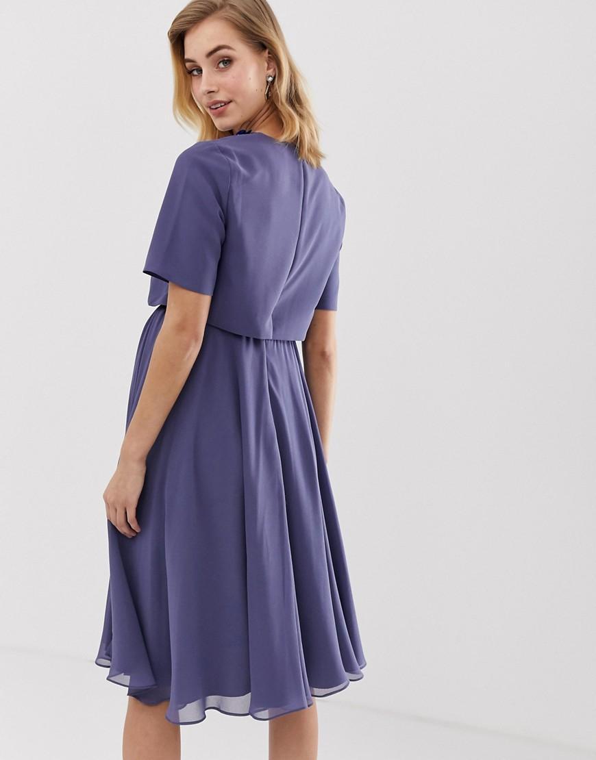 Mi Court Bleu Coloris Asos Avec Robe Top Longue Ornement En Lyst 3d vNyn80wmO