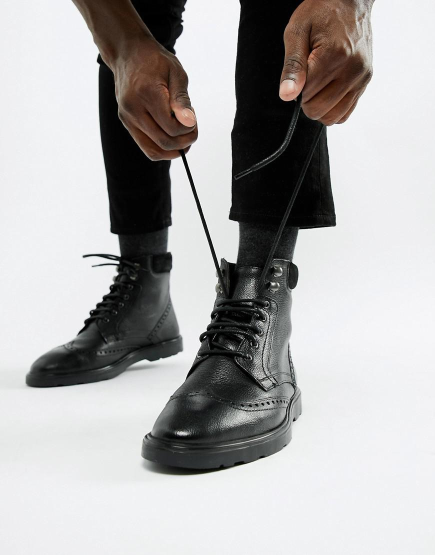 6f165f8d92f ASOS Asos Brogue Boots In Black Leather With Cuff Detail for men