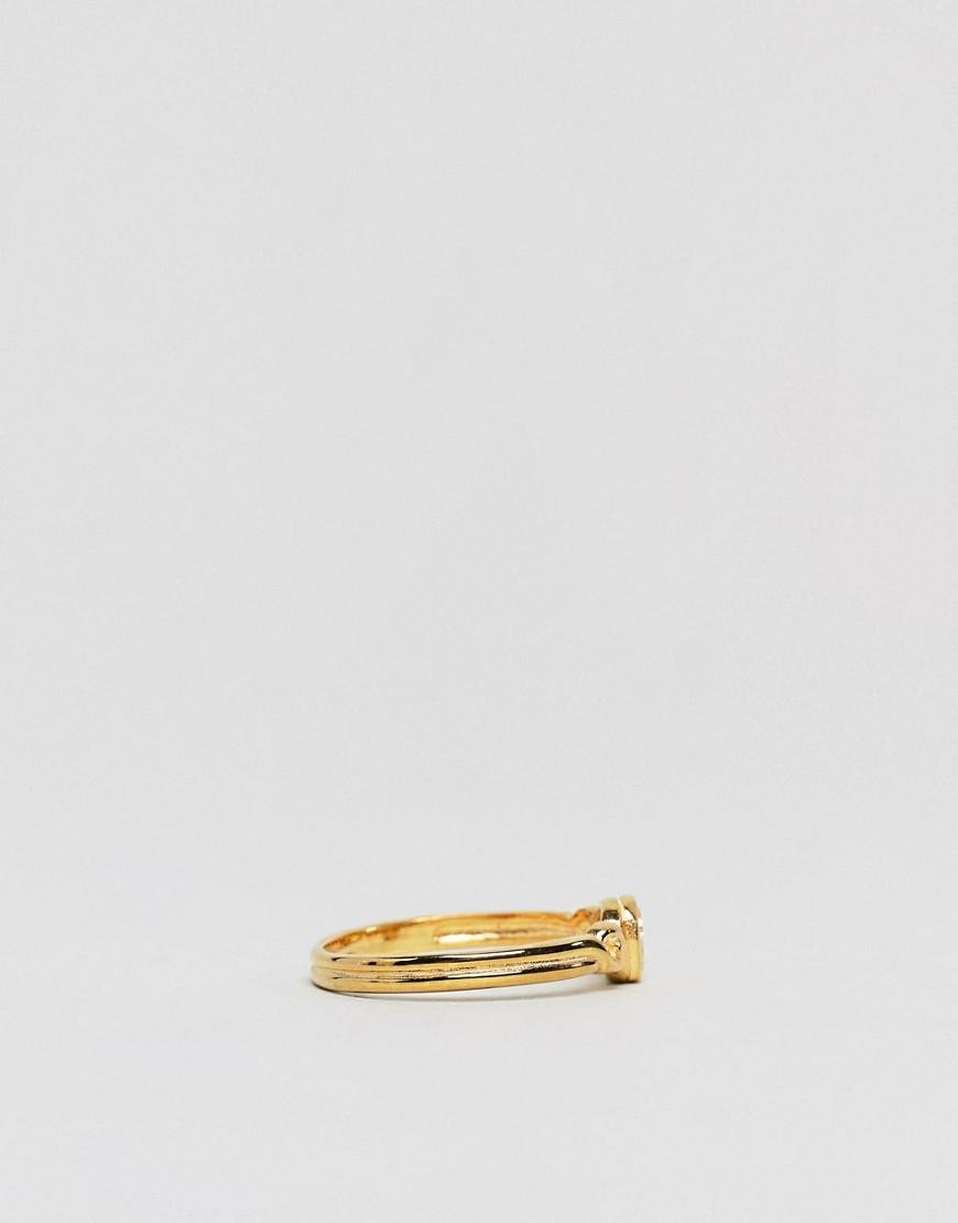 ASOS Denim Gold Plated Sterling Silver Vintage Style Icon Ring in Metallic