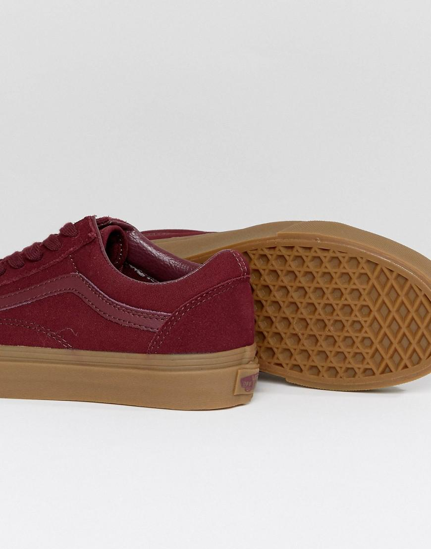 Vans Suede Old Skool Trainers In Burgandy With Gum Sole in