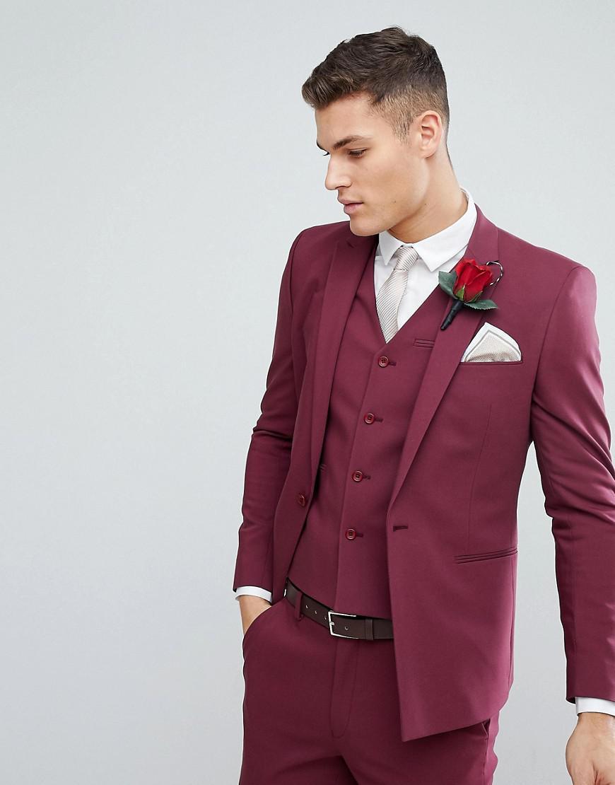 Asos Men S Red Wedding Skinny Suit
