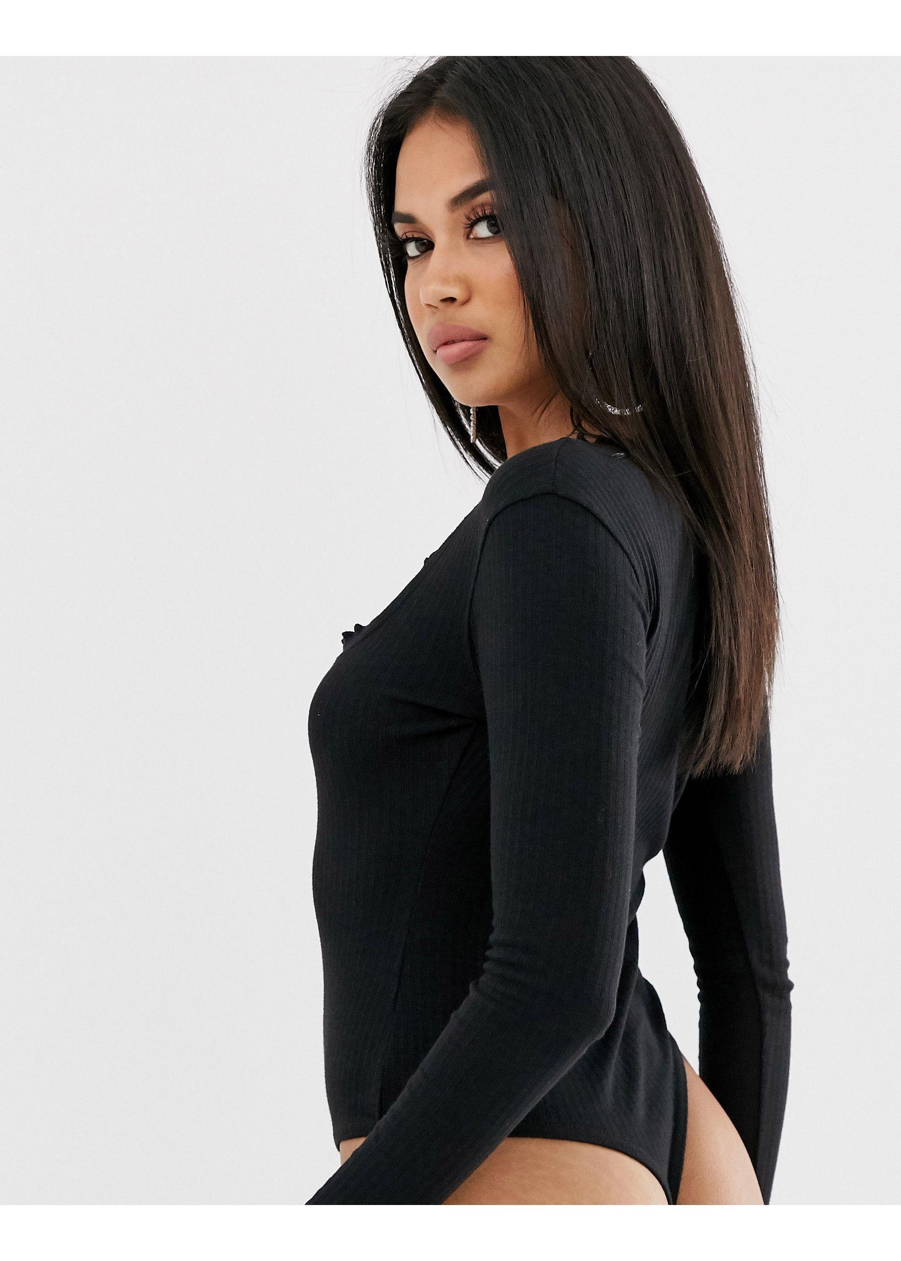 Body negro con borde ondulado y detalle Missguided de Denim de color Negro