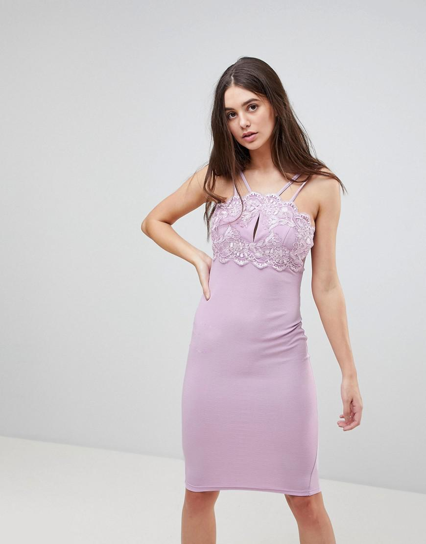 AX Paris Double Strap Bodycon Dress With Lace Detail in Purple - Lyst a9939d691