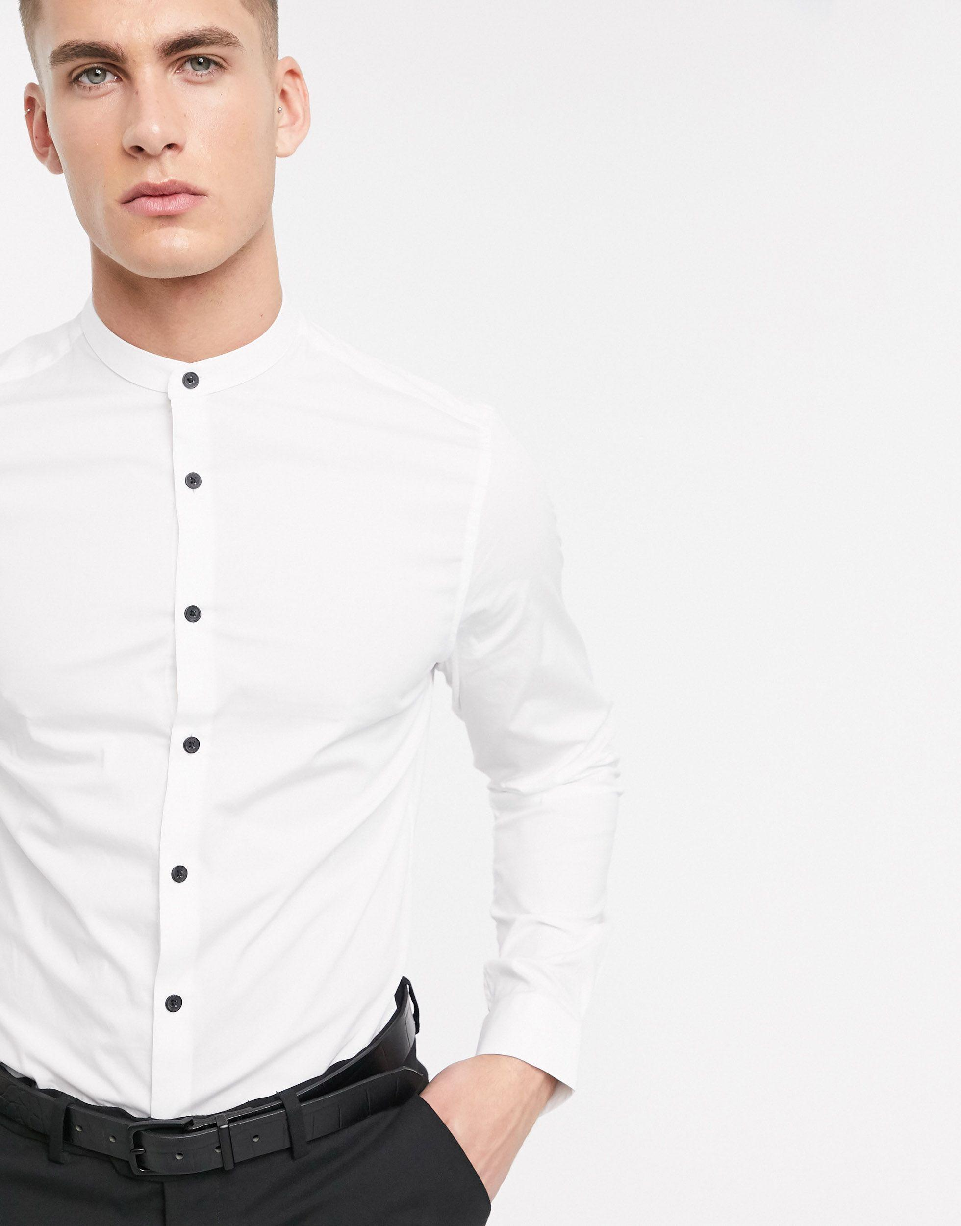 ASOS Cotton Skinny Shirt In White With Grandad Collar And Contrast Buttons for Men