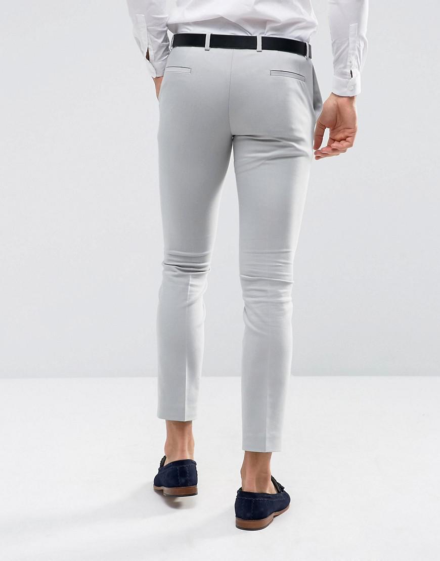 Noak Cotton Slim Wedding Suit Trouser In Pale Grey in Grey for Men