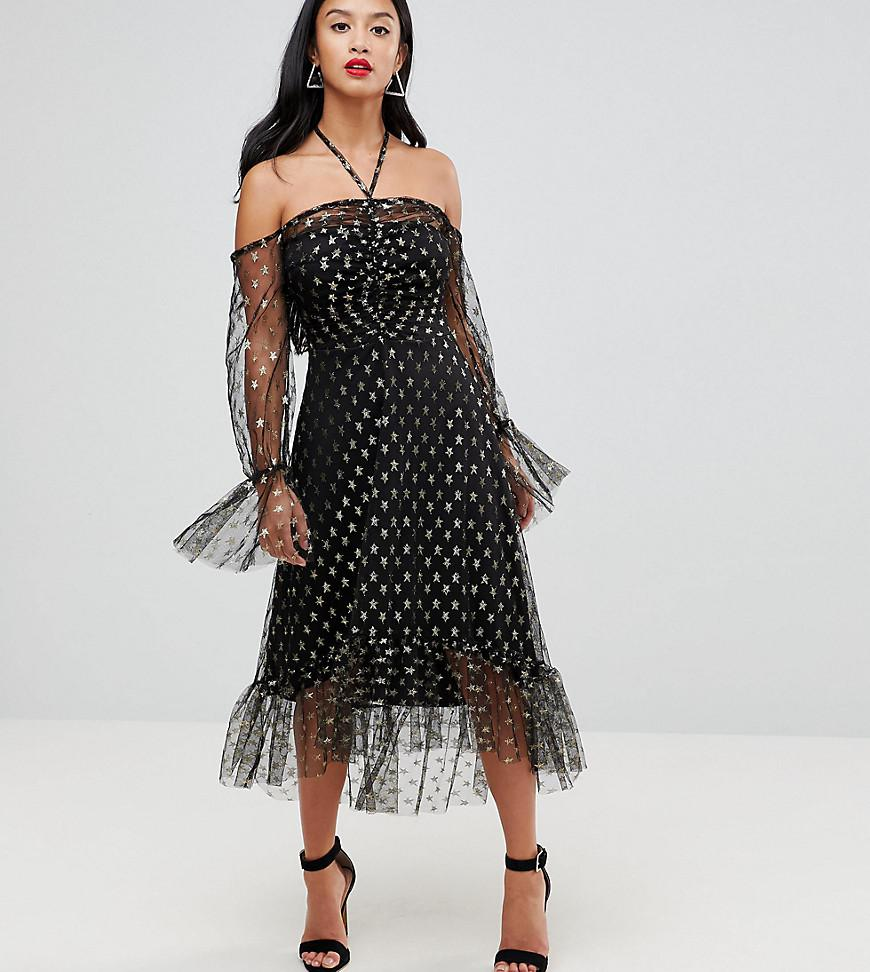 5fe2bfc76a6a8 ... Black Long Sleeve Cold Shoulder Metallic Star Print Midi Dress With Thigh  Split. Visit ASOS. Tap to visit site