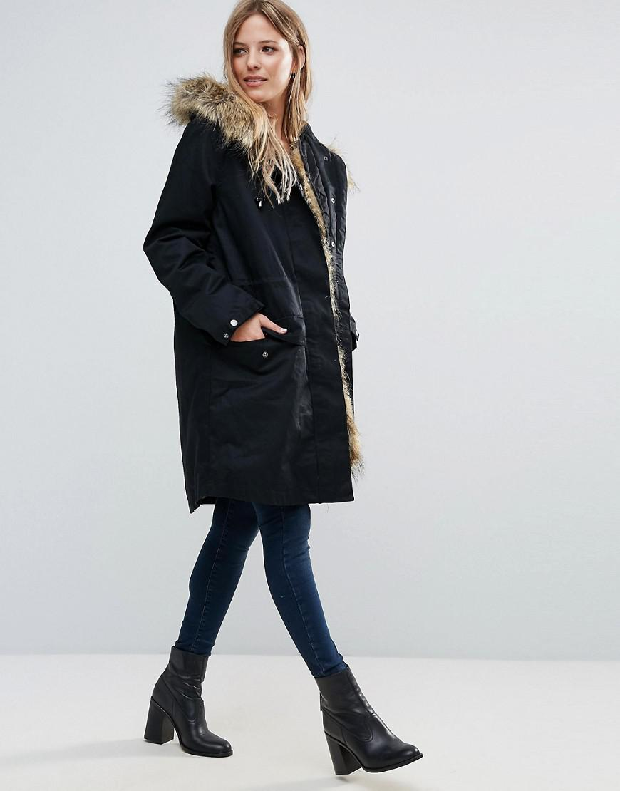 1036e049b43 French Connection Black Frost Faux Fur Trim Hooded Parka