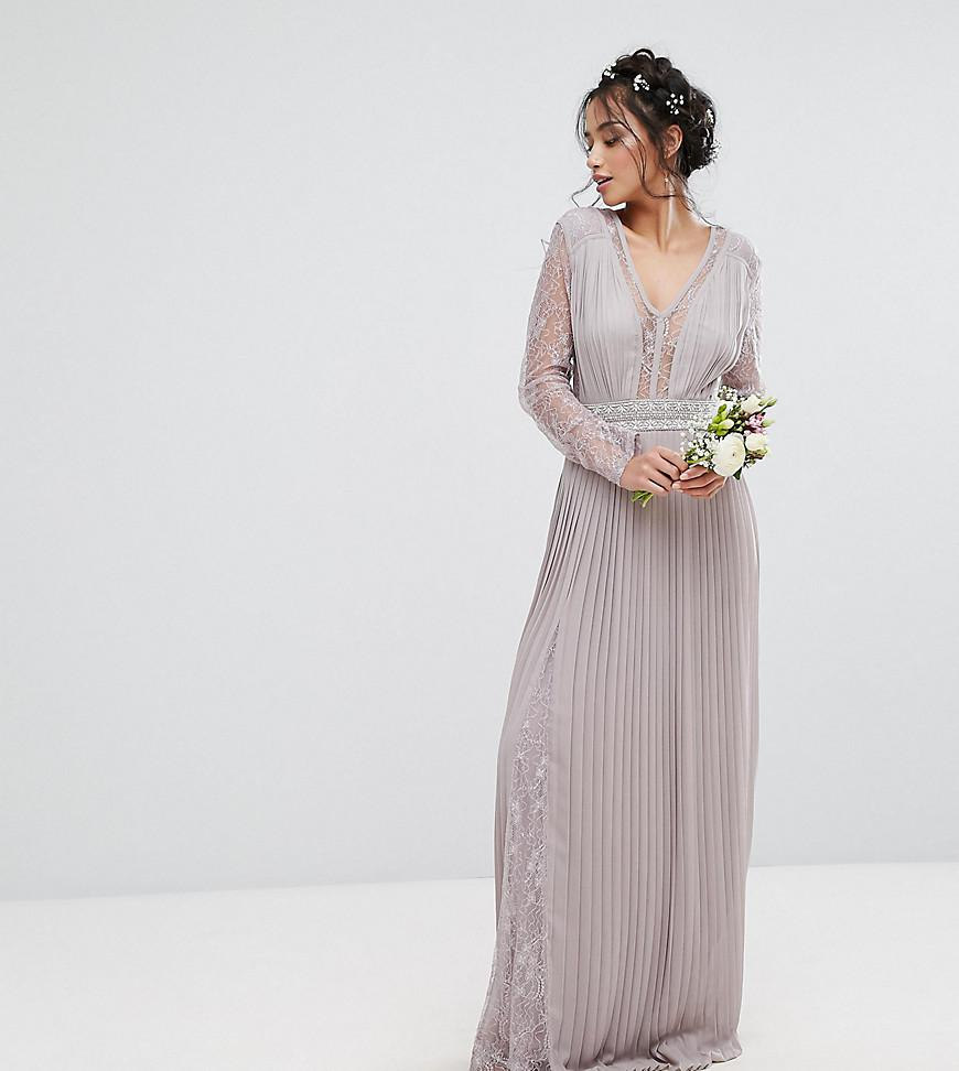 64bf7d3f7747 Lyst - TFNC London Wedding Pleated Maxi Dress With Long Sleeves And ...