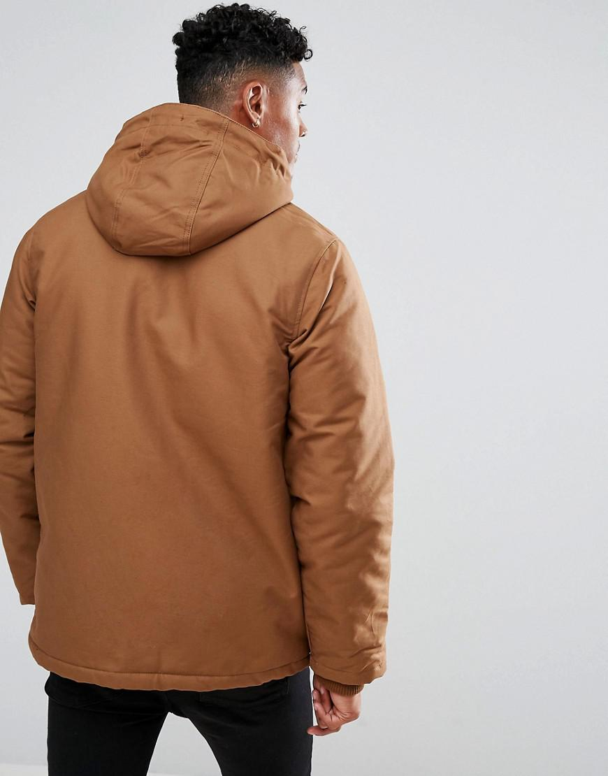 River Island Cotton Parka Jacket With Borg Lined Hood In Brown for Men