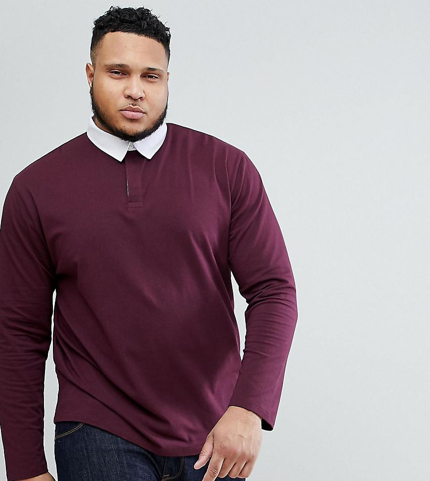 ASOS. Men's Red Plus Relaxed Rugby Polo Shirt With Long ...