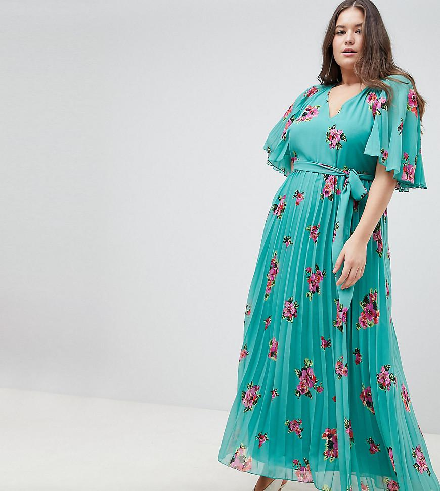 32531770388 ASOS Asos Design Curve Floral Flutter Sleeve Pleated Maxi Dress in ...