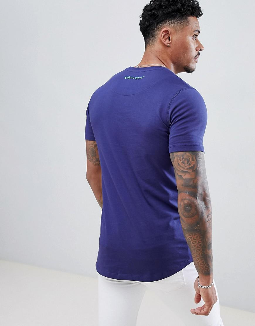 5fa42682 11 Degrees - Muscle Fit T-shirt In Blue With Logo for Men - Lyst. View  fullscreen