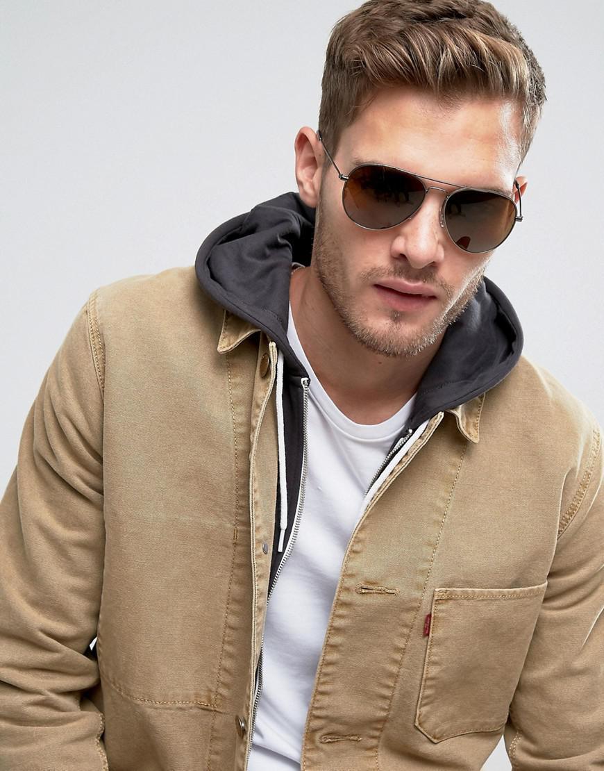 Levi's Denim Aviator Sunglasses In Silver in Metallic for Men